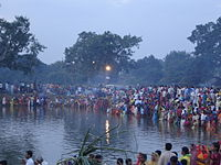 People Celebrating Chhath on 2nd Day Morning Around the Pond