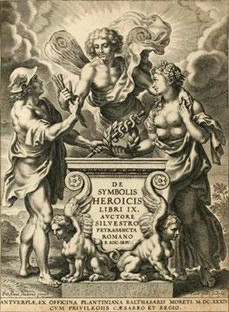 Silvester Petra Sancta - The title page of Petra Sancta's De Symbolis heroicis (1634)