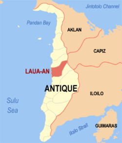 Mapa ti Antique a mangipakita ti lokasion ti Laua-an, Antique.