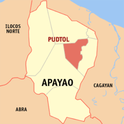 Map of Apayao showing the location of Pudtol