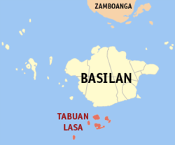 Map of Basilan with Tabuan highlighted-Lasa