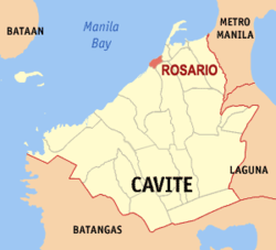 Map of Cavite showing the location of Rosario