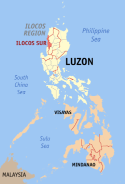 Map of the Philippines with Ilocos Sur highlighted