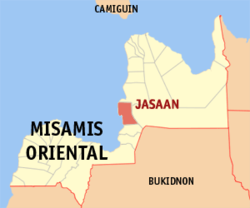 Map of Misamis Oriental with Jasaan highlighted