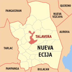 Map of Nueva Ecija showing the location of Talavera