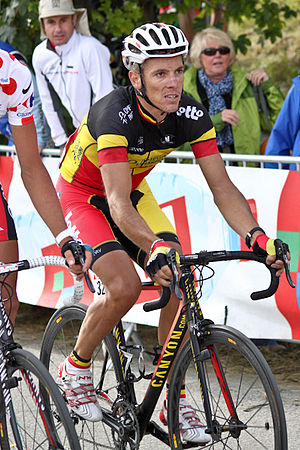 Philippe Gilbert - Gilbert at the 2011 Tour de France, wearing the Belgian national champion's jersey.