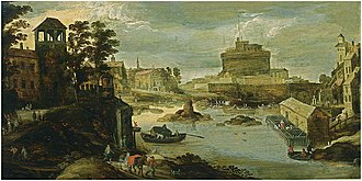 Philippe de Momper - A view of the Castel Sant'Angelo, the Ponte d'Angelo and the Tiber in the foreground