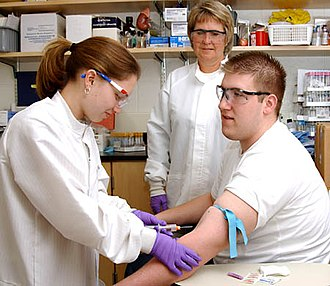 Phlebotomy - Students practising phlebotomy