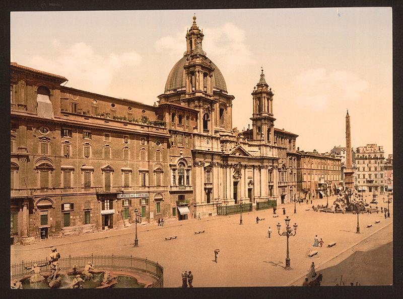Piazza Navona et église Sainte-Agnès-en-Agone en 1900 à Rome