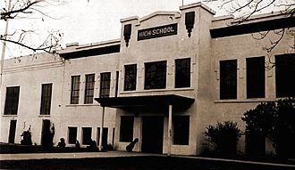 Hanford Site - Hanford High School, shown before residents were displaced by the creation of the Hanford Site