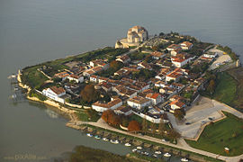 An aerial view of the bastide in the Gironde estuary