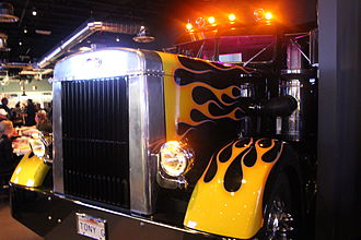 Pizza Rock's iconic Semi-Truck, outfitted with a DJ Booth. Pizza Rock's Semi Truck.JPG