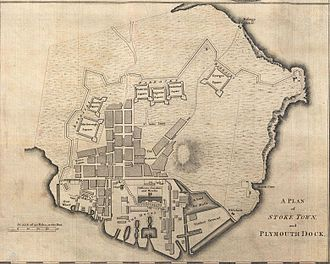 Devonport, Plymouth - Plymouth Dock, 1765: the town is shown encompassed by the dockyard to the west, by the defensive 'lines' and square barracks to the north and east, and by Mount Wise to the south. NB North = left.