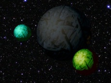Planet Ziggurato with two habitable moons orbiting.png