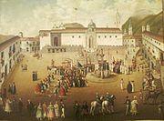 Plaza principal de Quito, anónimo - siglo XVIII (Museo de la Moneda, Bogotá)