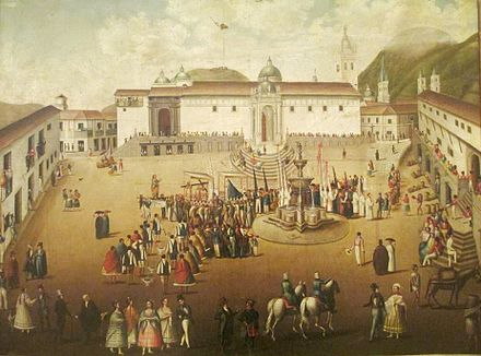 Major square of Quito. Painting of 18th century. Quito Painting Colonial School. Plaza principal de Quito, anonimo - siglo XVIII (Museo de la Moneda, Bogota).jpg