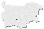 Map of Bulgaria, position of Plovdiv highlighted
