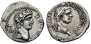 Polemon II of Pontus - Silver drachm of king Polemon II (left) and emperor Nero (right), dating from Polemon's regnal year 19 (ιθ to the lower left of Polemon's bust), that is 56/57 AD