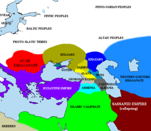 Turkic migration - The Pontic steppe, c. 650, showing the early territories of the Khazars, Bulgars, and Avars
