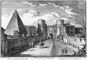 Porta San Paolo - Giuseppe Vasi etching of Porta San Paolo and Pyramid of Cestius, in the 18th century.