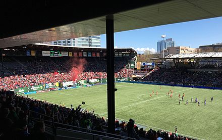 Providence Park during a Portland Thorns FC match. Portland Thorns 2017-04-15 10.jpg