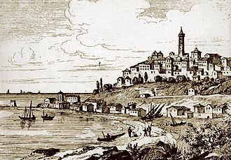 Imperia - A representation of Porto Maurizio in the early 1800s.