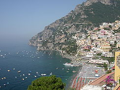 Positano's beach from the roadway.