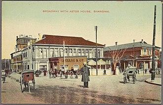 Astor House Hotel (Shanghai) - Postcard of Astor House Hotel, Shanghai, circa 1890