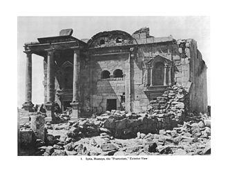 Praetorium - Outer view of the supposed praetorium at Musmiye, Syria, demolished in 1890.