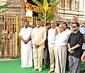 Pranab Mukherjee at a temple, in Tirupati, Andhra Pradesh. The Governor of Telangana and Andhra Pradesh, Shri E.S.L. Narasimhan and the Chief Minister of Andhra Pradesh, Shri N. Chandrababu Naidu are also seen.jpg