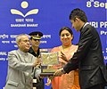 Pranab Mukherjee gave away the Saakshar Bharat awards, at the International Literacy Day celebrations, in New Delhi on September 08, 2015. The Union Minister for Human Resource Development, Smt. Smriti Irani is also seen.jpg