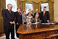 President George W. Bush signing the Renewal of Import Restrictions on Burma and the Tom Lantos Block Burmese JADE Act of 2008.jpg