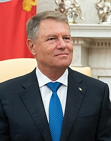 President Trump Meets with the President of Romania (48587349852) (cropped).jpg