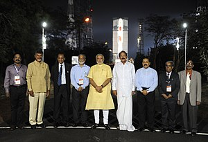 Satish Dhawan Space Centre - PM Modi visits Satish Dhawan Space Centre First Launch Pad in June 2014; Launch Vehicle seen in the backdrop.