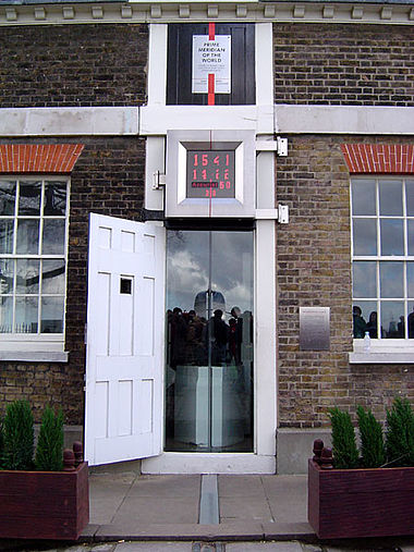 The astronomic prime meridian at Greenwich, England. The geodetic prime meridian is actually 102.478 meters east of this point since the adoption of WGS84. Prime meridian.jpg