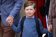 Prince Christian of Denmark on his first day of school.jpg
