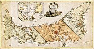 Higher education in Prince Edward Island - Prince Edward Island map, 1765