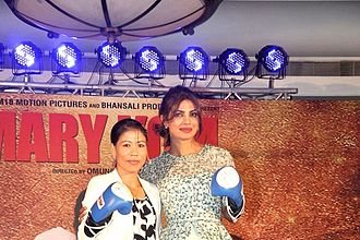 Mary Kom (film) - Kom and Chopra at the music release of the film
