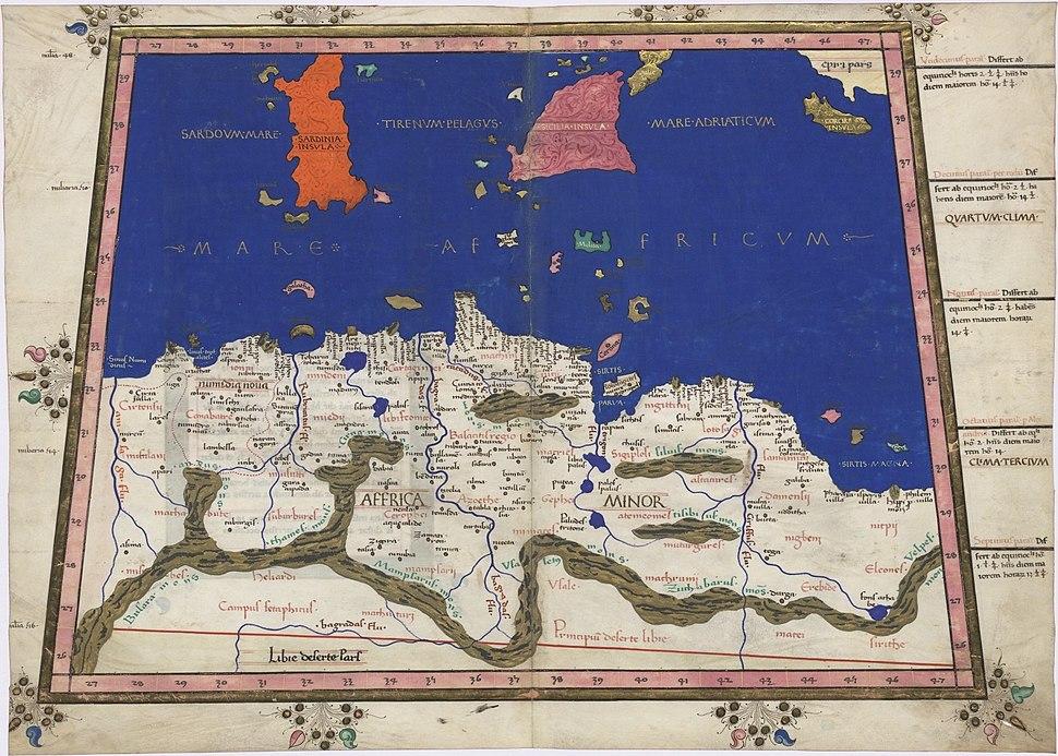 Ptolemy Cosmographia 1467 - North Central Africa - Mediterranean Sea