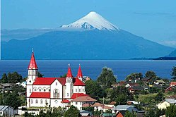 View of Puerto Varas with Osorno Volcano and Llanquihue Lake in the background.