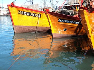 Mar del Plata - Typical wooden fishing boats at the port of Mar del Plata