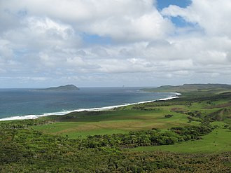 """South East Island - On the LHS South East Island (Rangatira) and in the distance in the middle of photograph """"The Pyramid""""(Tarakoikoia)"""