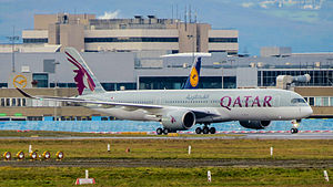 Qatar Airways Airbus A350-941 A7-ALA 15.Jan.2015 First commercial service Doha-Frankfurt (16260395846).jpg