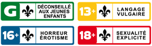 Canadian Home Video Rating System - Ratings Labels used in Quebec