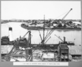 Queensland State Archives 3669 First pour of concrete above ground at north main pier Brisbane 2 June 1936.png