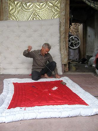 Quilting - Quilter in Bazaar of Nishapur, Iran