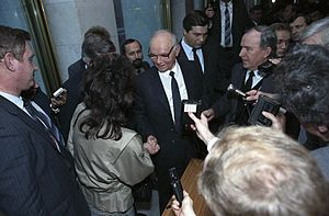 Vladimir Kryuchkov - Kryuchkov (center) being interviewed by journalists following the fourth convocation of the Congress of People's Deputies
