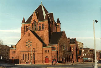 Richardsonian Romanesque - Richardsonian Romanesque has both French and Spanish Romanesque characteristics, as seen in the First Presbyterian Church in Detroit,  by architects George D. Mason and Zachariah Rice in 1891