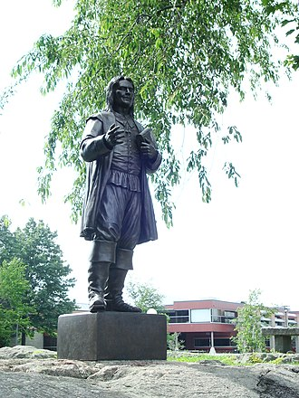 Colony of Rhode Island and Providence Plantations - The statue of Roger Williams at Roger Williams University, Rhode Island