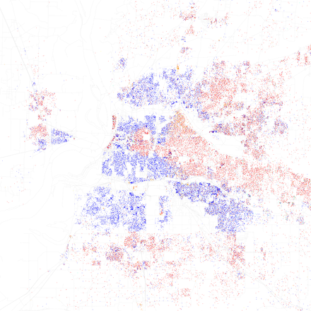 Map of racial distribution in Memphis, 2010 U.S. Census. Each dot is 25 people: White, Black, Asian Hispanic, or Other (yellow) Race and ethnicity 2010- Memphis (5560473024).png